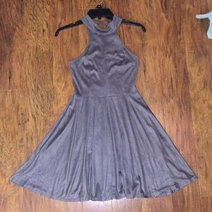 Dresses & Skirts - Gray suede high neck dress